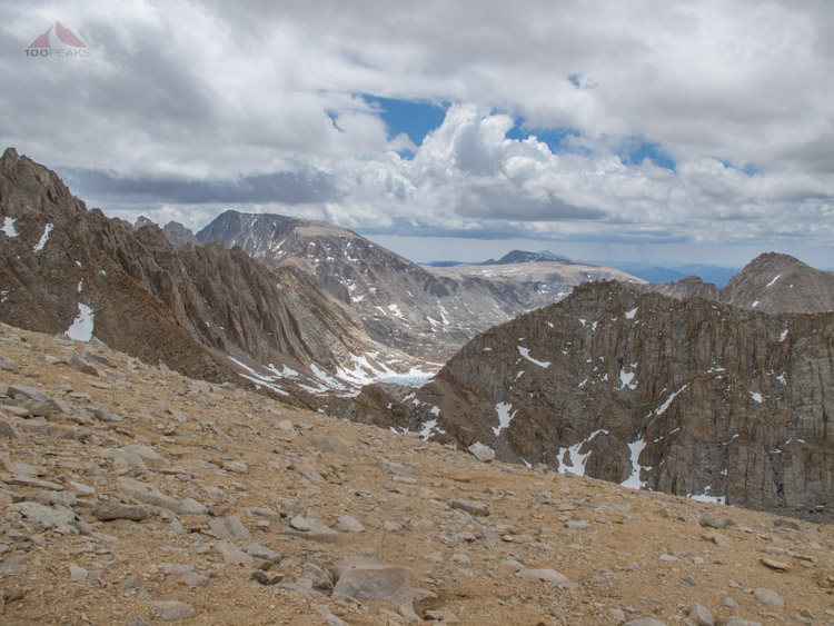 Halfway up the scree wall, Lake 12K and Mount Langley in the distance