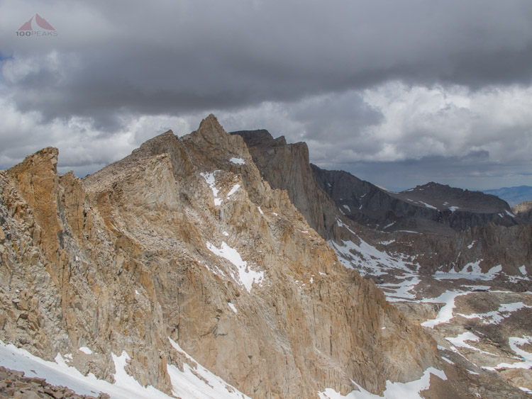 Our first view of Mount Whitney from Discovery Pinnacle, you can just make out the summit hut