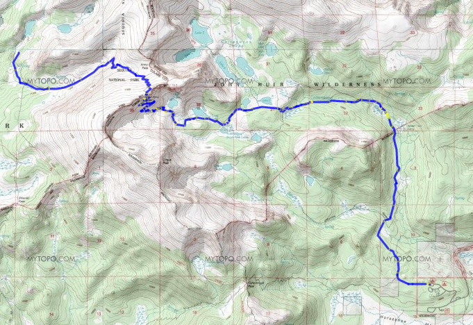 Map Day 1: Horseshoe Meadows to Lower Soldier Lake over New Army Pass