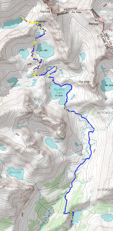 Map Day 2: Lower Soldier Lake to Upper Crabtree Lake