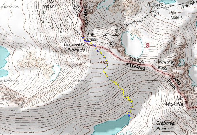 Map Day 3: Upper Crabtree Lake to Discovery Pinnacle to Trail Crest