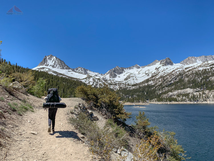 Heading up into the snow to Long Lake on the Bishop Pass Trail