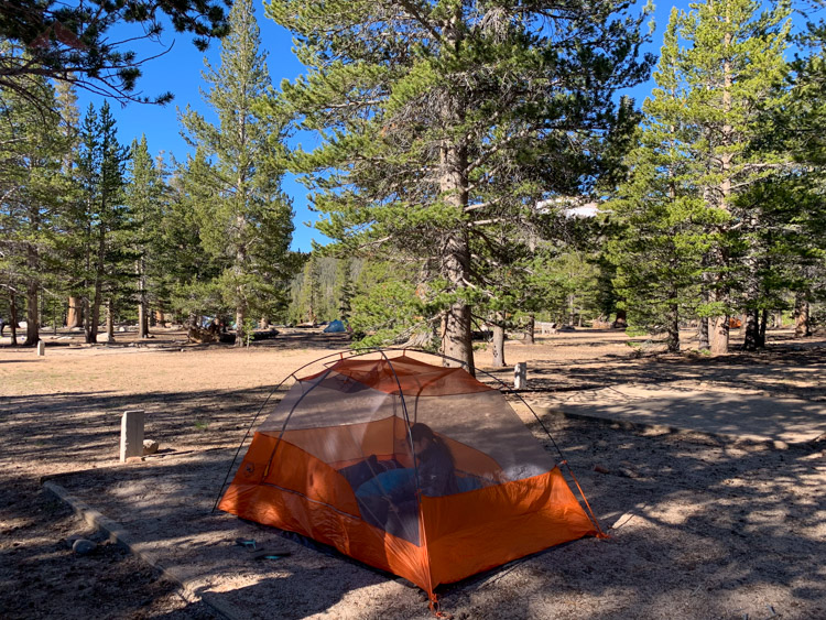 Campsite at Cottonwood Pass campground at Horseshoe Meadow