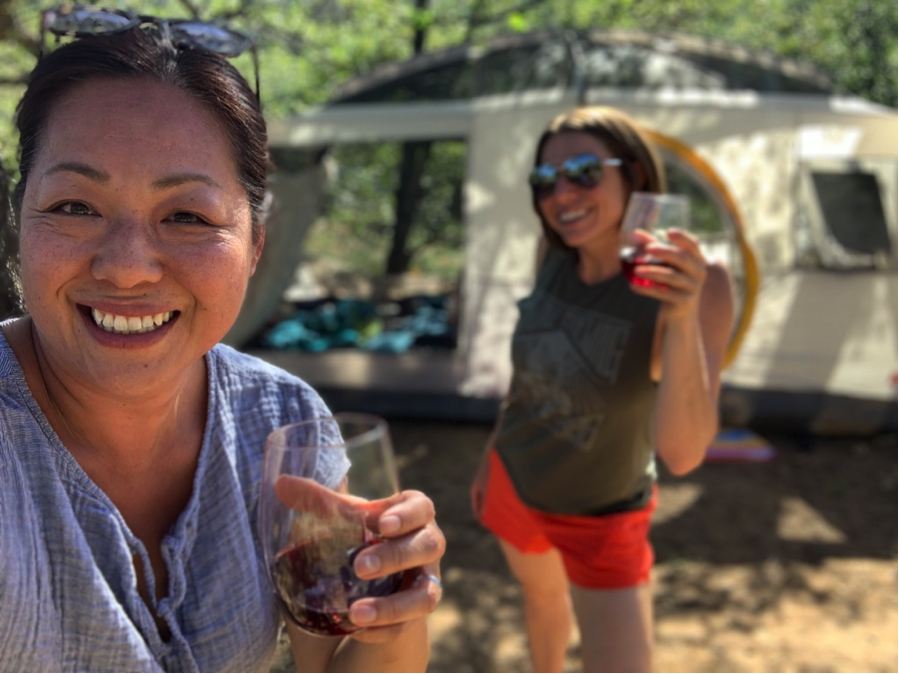 Camping is not complete without some vino! It's time to get a little silly.