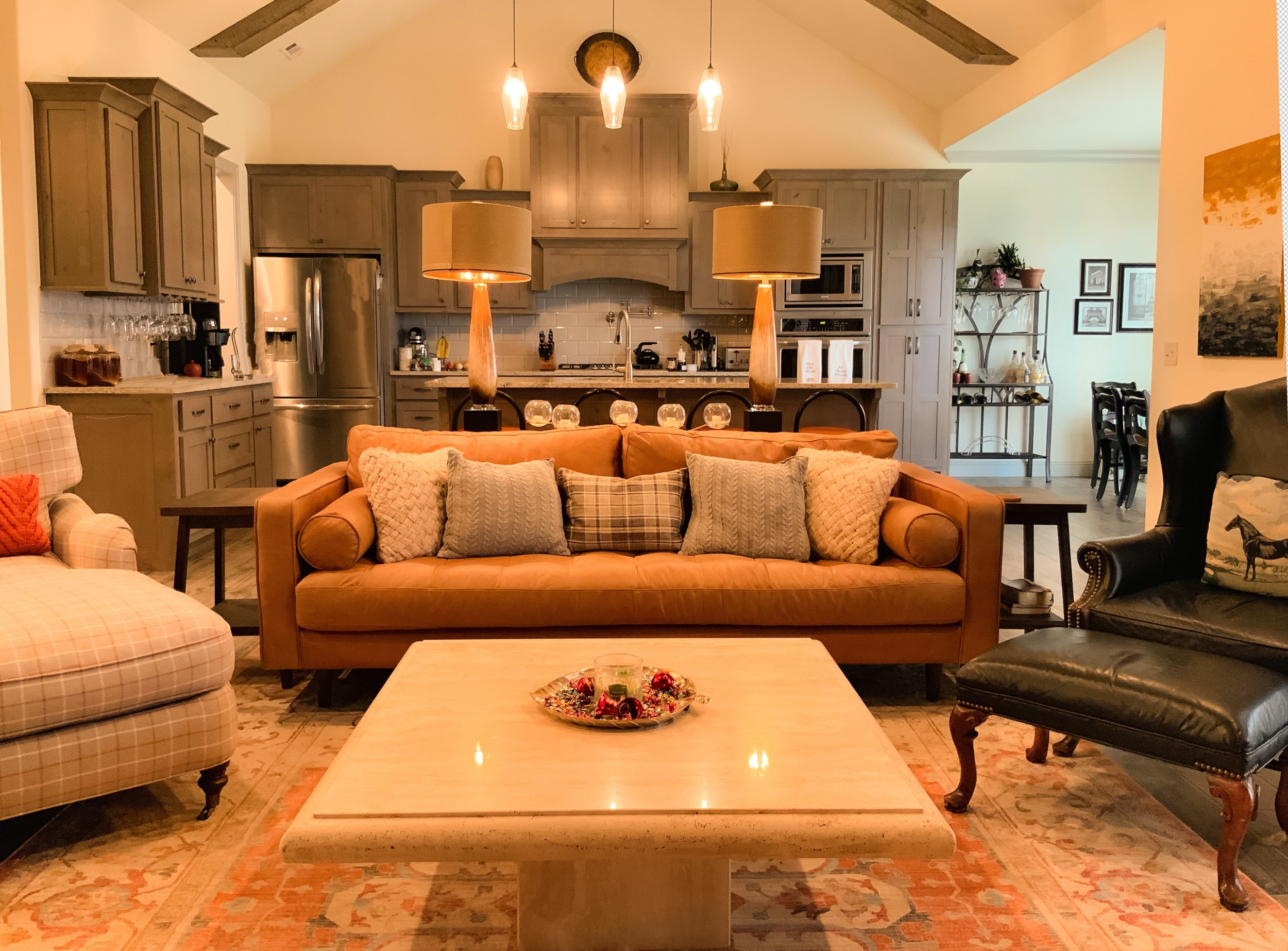 Orange and Gray Accents Carry This Modern Meets English Country Interior