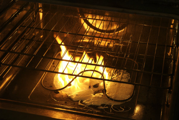 This is not our oven, but this is kind of what the fire looked like.