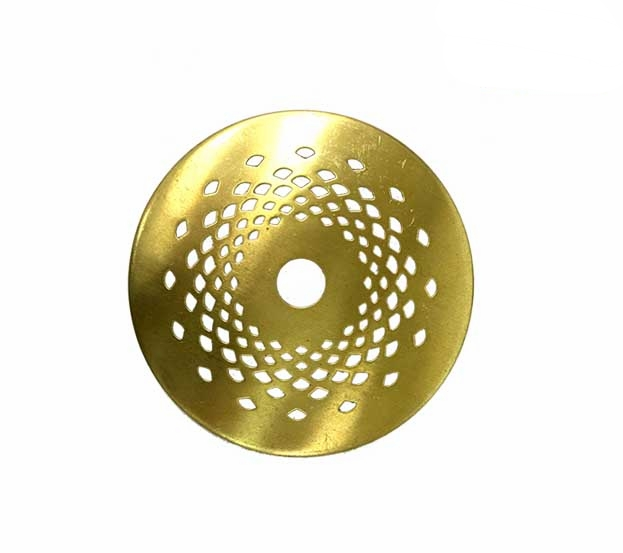 """Brass Lace Vented Caps   Perforated, spun brass, unfinished, not lacquered. Available in 9 sizes.   OLVCAP2 : 2""""(51mm) in diameter  OLVCAP25 : 2-1/2""""(64mm) in dia.  OLVCAP3 : 3""""(76mm)in diameter  OLVCAP35 : 3-1/2""""(89mm)in diameter  OLVCAP4 : 4""""(102mm)in diameter  OLVCAP45 : 4-1/2""""(114mm)in diameter  OLVCAP5 : 5""""(127mm)in diameter  OLVCAP55 : 5-1/2""""(140mm)in diameter  OLVCAP6 : 6""""(152mm)in diameter"""
