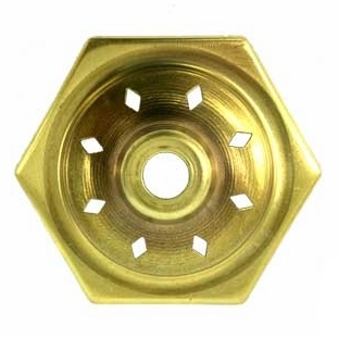 """O6VCAP 6-Sided   Vented Brass Vase Caps   With diamond vented. Side length: 1-5/8""""(41mm)"""