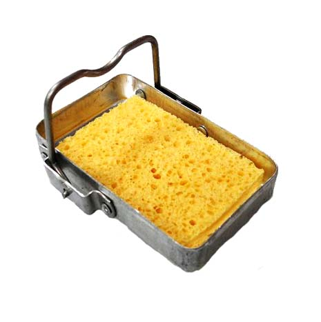 """RSS Mini Soldering Iron Stand   Size: 3-1/2"""" × 2-3/4""""× 2""""(H) Stainless steel base, simple but work quite well. Not only easy to carry but also save work place. Including sponge, spare sponge is available.   RSS-R Spare Sponge"""