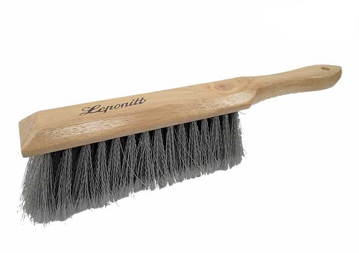 """SPPB-14 Leponitt 14"""" Bench Brush   Plastic bristles. Five rows of 15 bristle tufts, 2-5/8""""(57mm) long. For sweeping glass hard, well as general purpose brush. 13-3/4""""(349mm) hardwood handle is bored for hanging."""