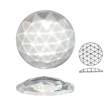 U20519/20/101 Round Faceted Jewel   20mm Round Flat back domed faceted glass jewel Crystal Clear 160PCE (BOX)