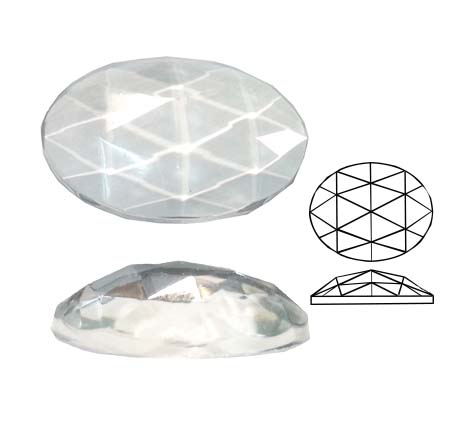 U20523/40X30 Oval Faceted Jewel   40mmx30mm oval Flat back domed faceted glass jewel Crystal Clear 600PCE (BOX)