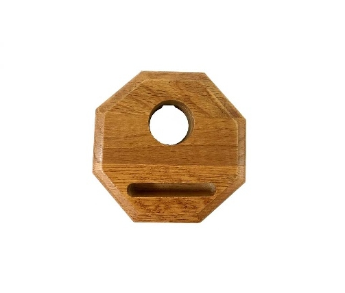 "OWF-8 Octagon Oak Fan Base   Octagonal design stained oak base for fan shade.  Dimensions: 4""×4""×1-1/4"" (102mm×102mm×32mm)"