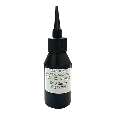 Leponitt UV Glue   Particularly useful as glass adhesive due to it's high transparency and exceptional stability. (50g/bottle)   S-OPAS120  Used for bonding glass to glass.  S-OPA301  Used for bonding glass to metal.
