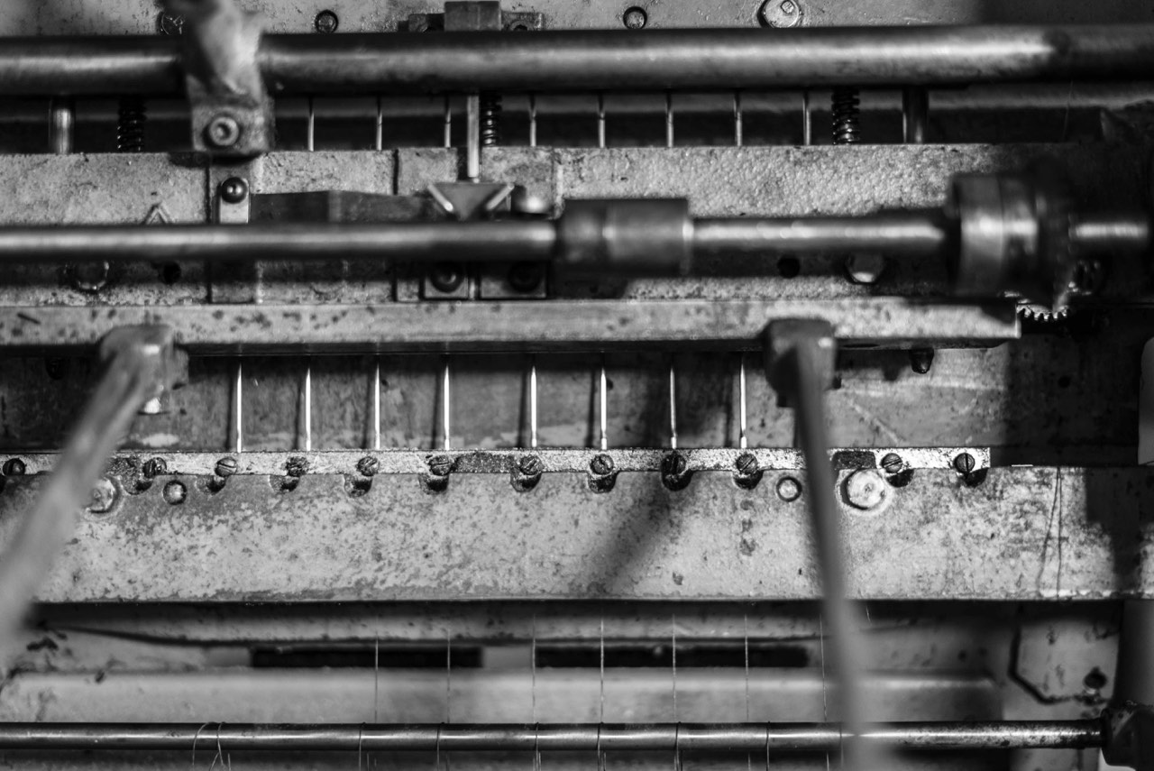 Our oversewing machine for library style bookbinding. Photo courtesy of J.M. Vavrek Photography.