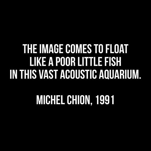 """""""이미지는 마치 음향이라는 수족관 안에서 떠다니는 초라한 물고기와 같다"""" (Chion, 1991, p. 72)  프랑스 학자 미셀 시옹은 영상물 경험의 여러 개의 중첩 층들 중에서 비주얼 이미지는 스크린 화면으로 보이는 한 개의 층이고 나머지 층들은 사운드라고 주장하면서 보이는 이미지를 초라한 물고기로 표현했다. (...) - '에워싼' 사운드 시화 기능에 관한 연구 (허철, 김정선)"""