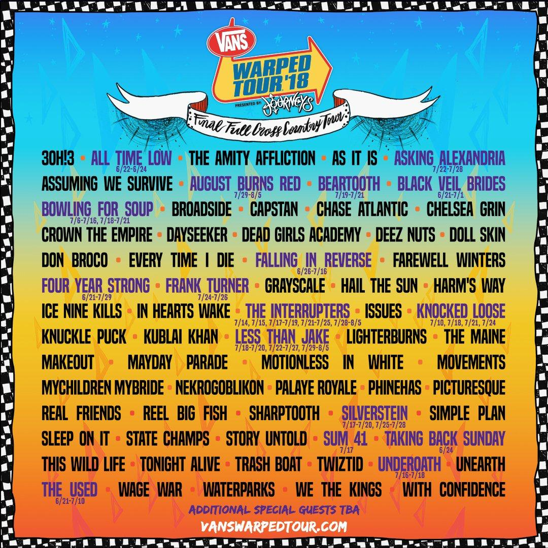 The Vans Warped Tour 2018 lineup.