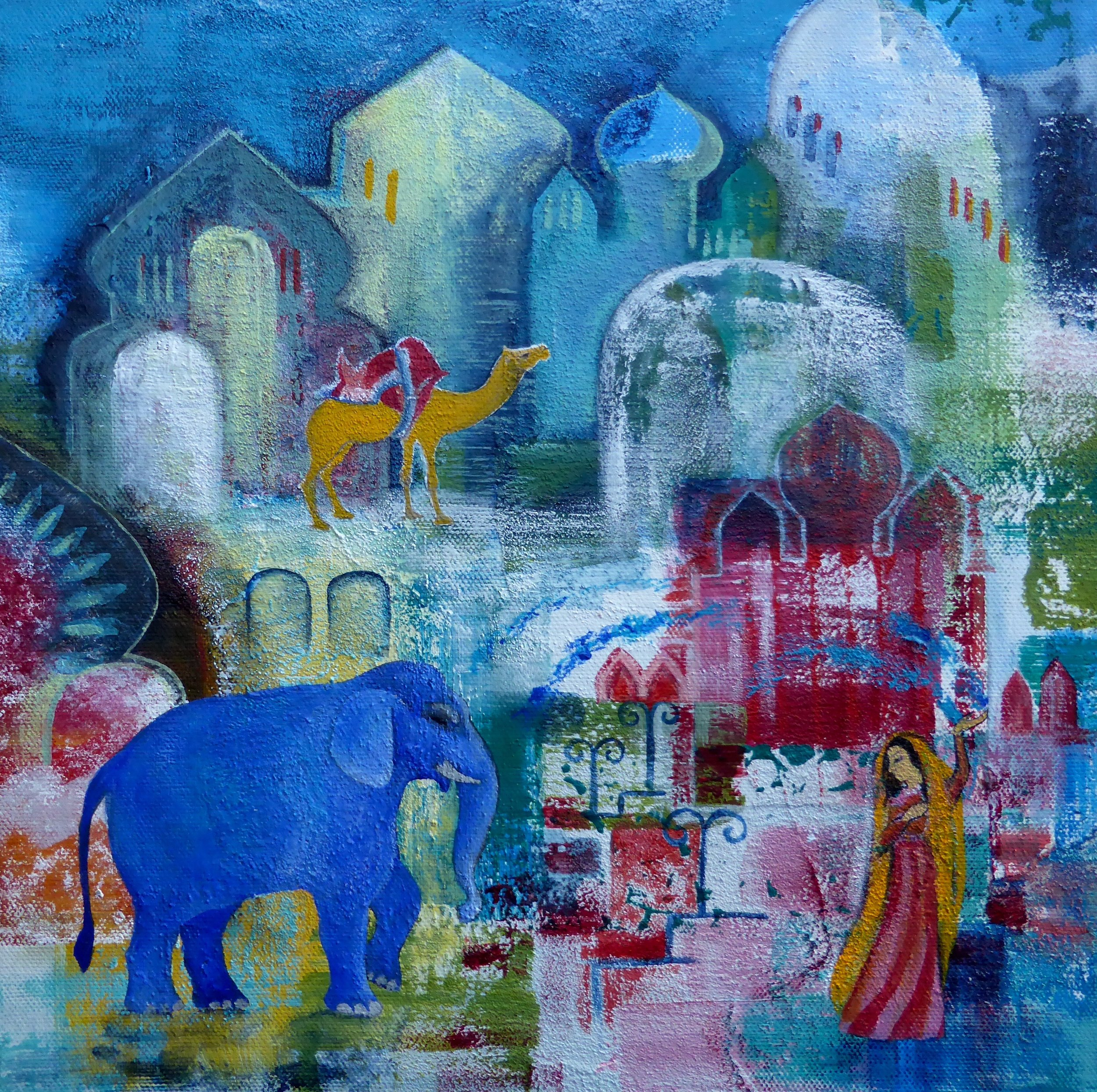 An Elephant at Holi Festival   SOLD
