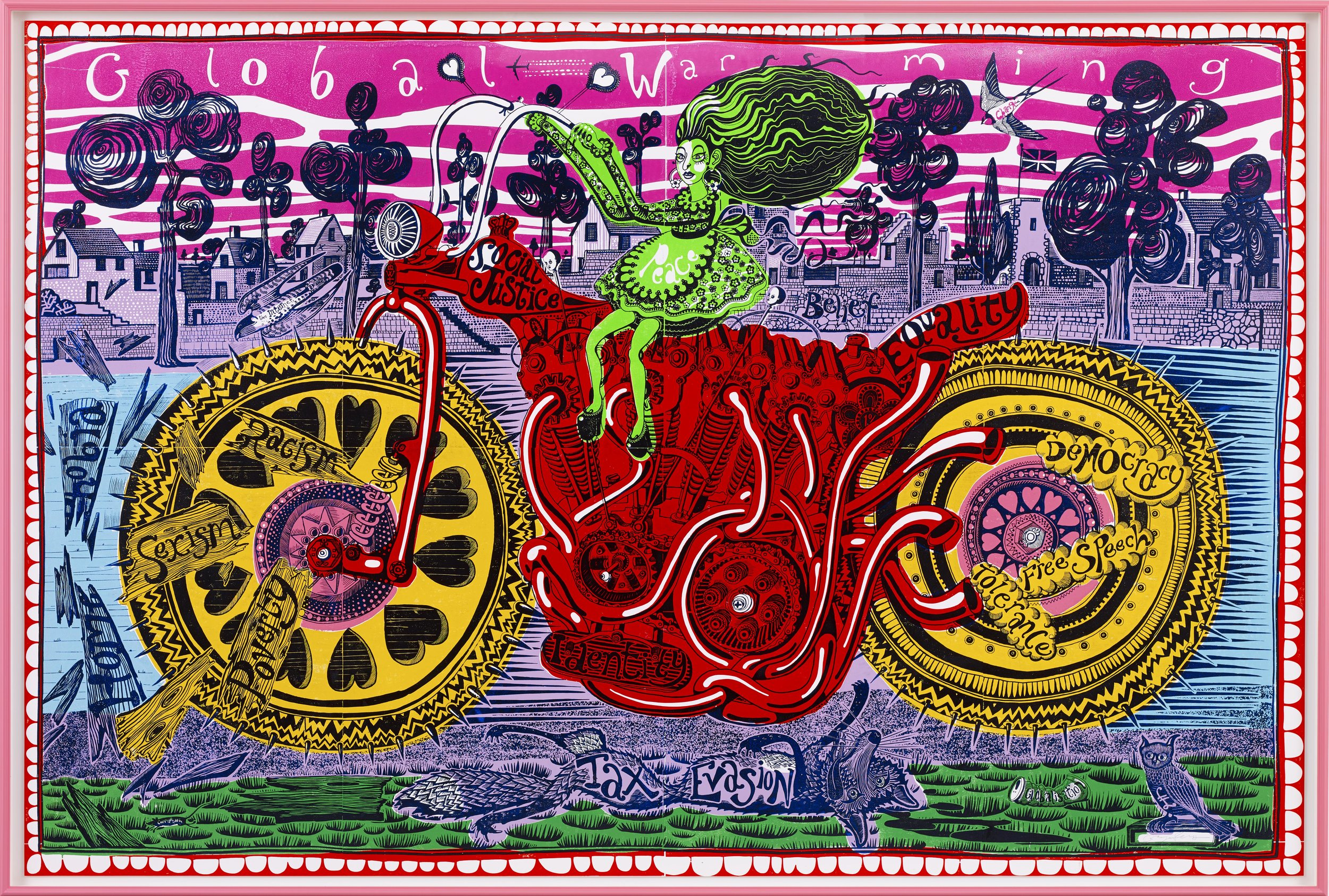 Grayson Perry: Selfie with Political Causes,  woodcut