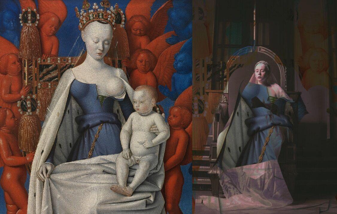 Jean Fouquet: Neitsyt Maria ja Jeesus-lapsi (1450) Melun-diptyykistä vs Armi Von Vep (kuva: Gustav Larsson)