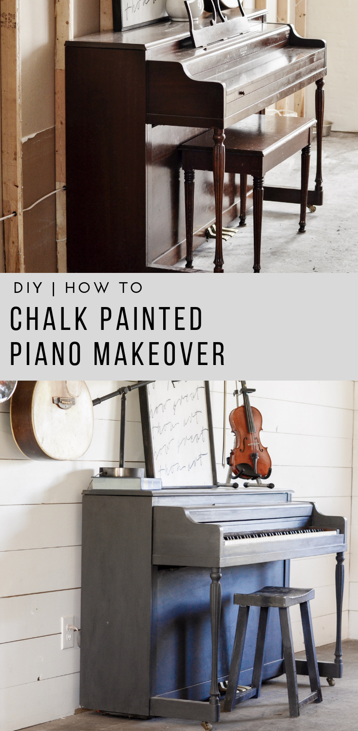 DIY Chalk Painted Piano with Before and After Photos | Rocky Hedge Farm