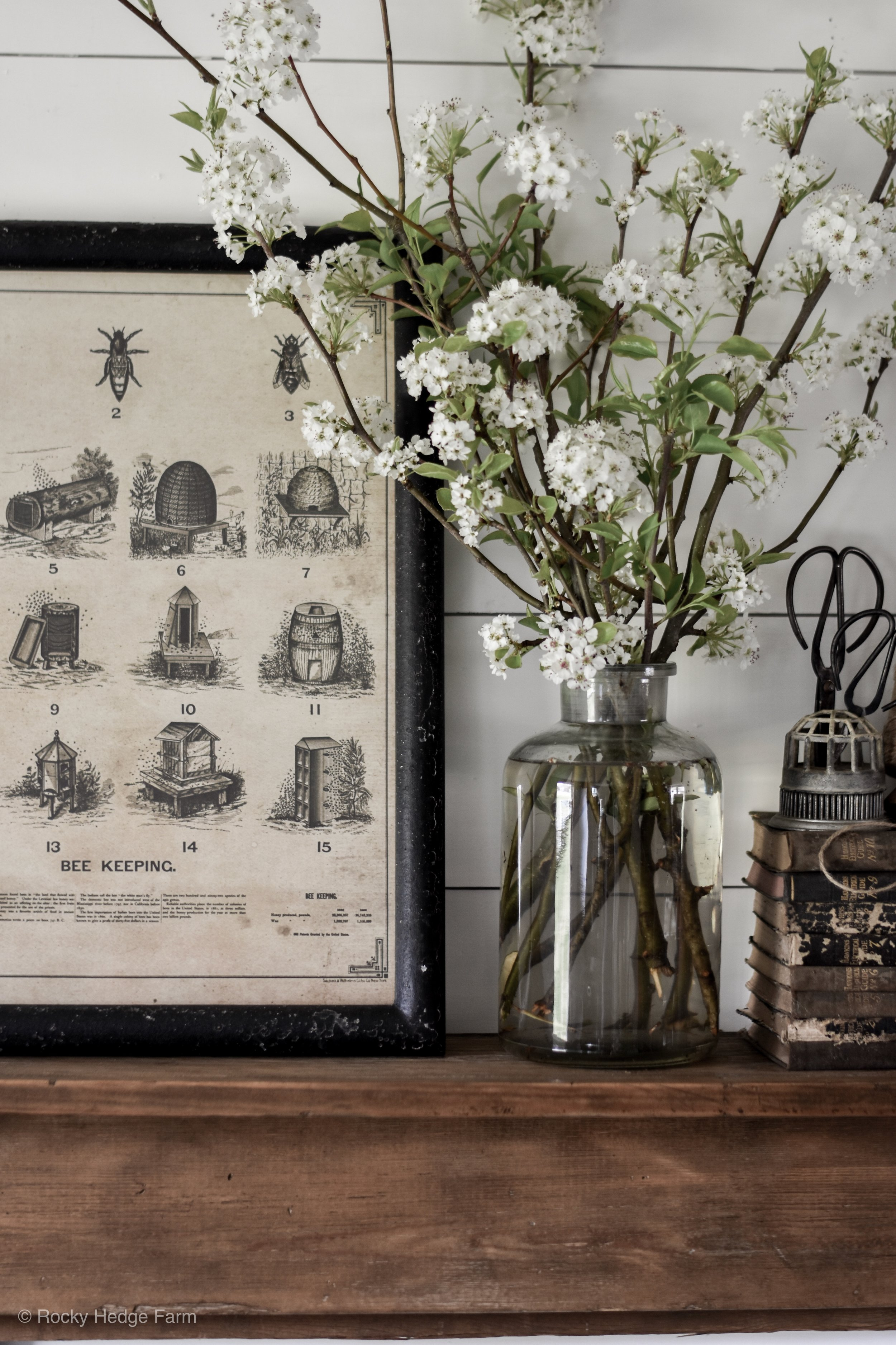 Simple Spring Mantle - Rustic and Vintage Ideas with Blooming Branches | Rocky Hedge Farm