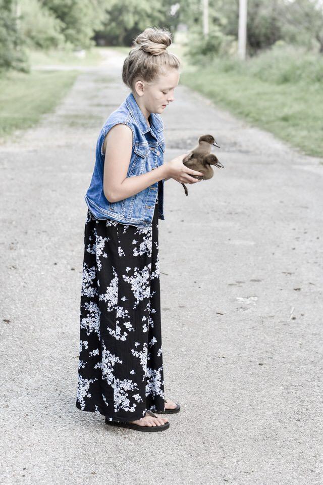 Girls Maxi Dress with Denim Vest Modest Dress Ideas for Girls | Rocky Hedge Farm