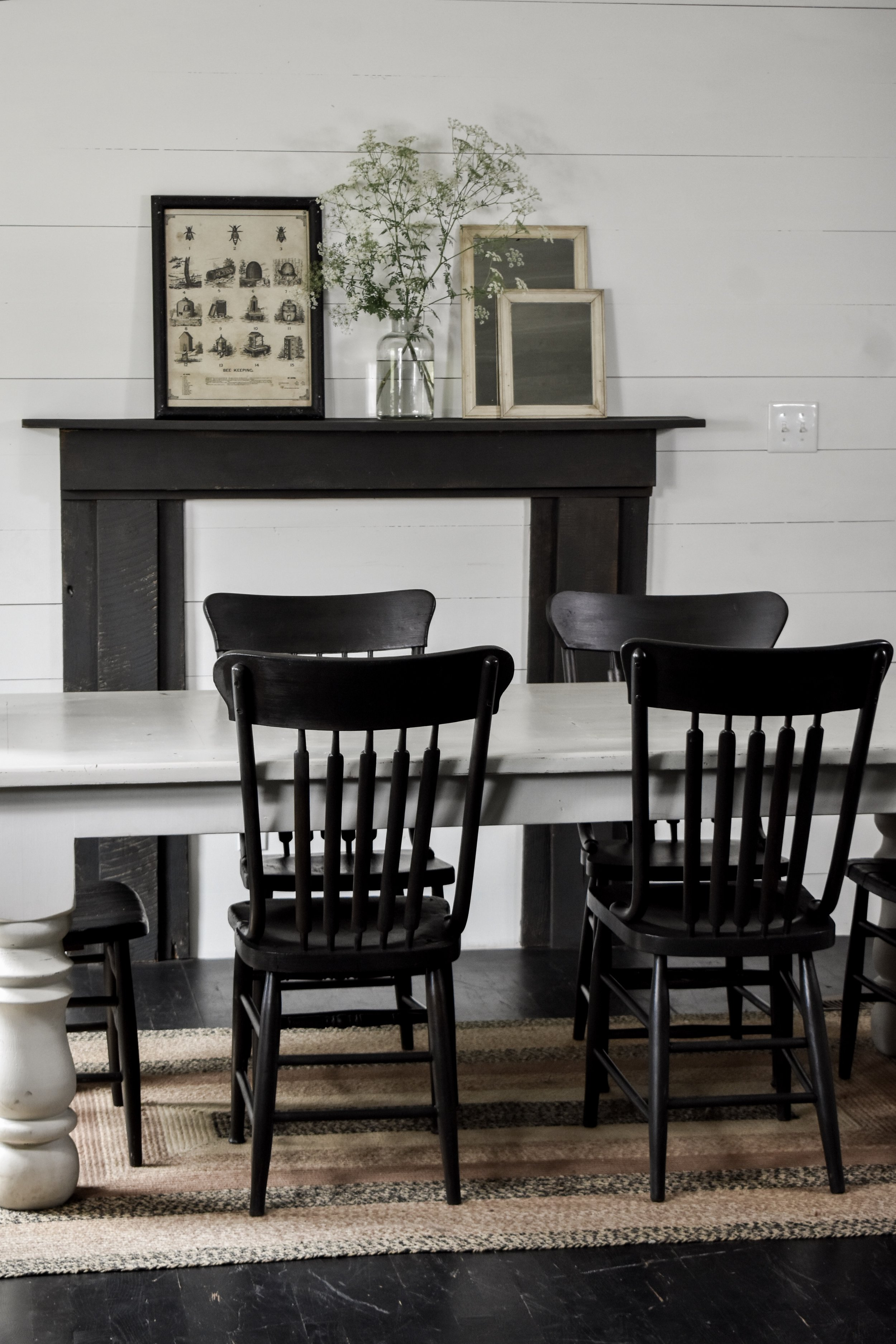 Rustic Black Farmhouse Dining Room Chairs | Rocky Hedge Farm