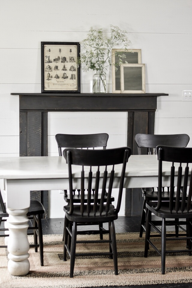 Doublewide Farmhouse Style Dining Room with Black Chalk Painted Chairs | Rocky Hedge Farm