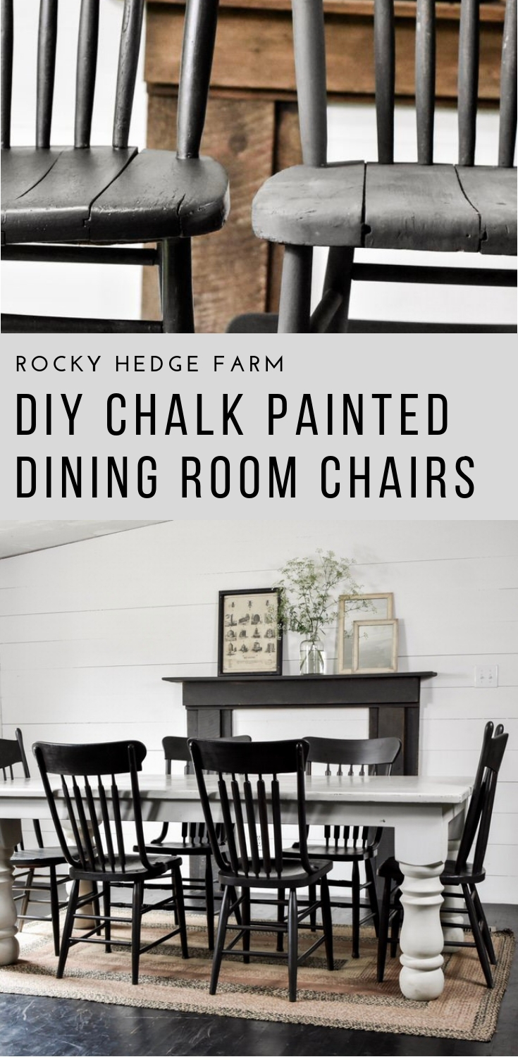 DIY Black Chalk Painted Dining Room Chairs | Rocky Hedge Farm