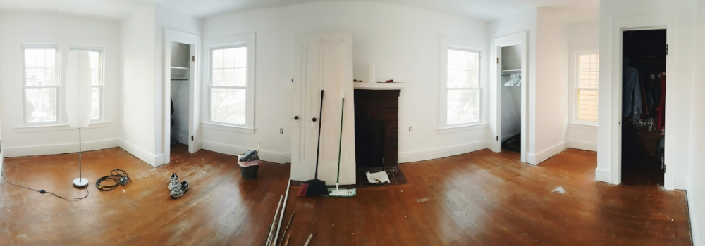 Woah! So bright! And we've since had our floors were refinished.