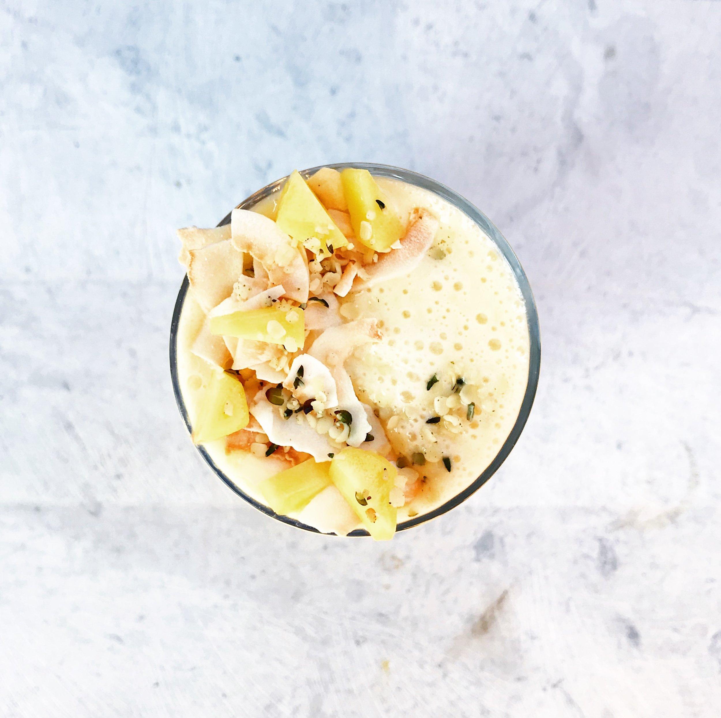 kefir, mango + banana smoothie.JPG