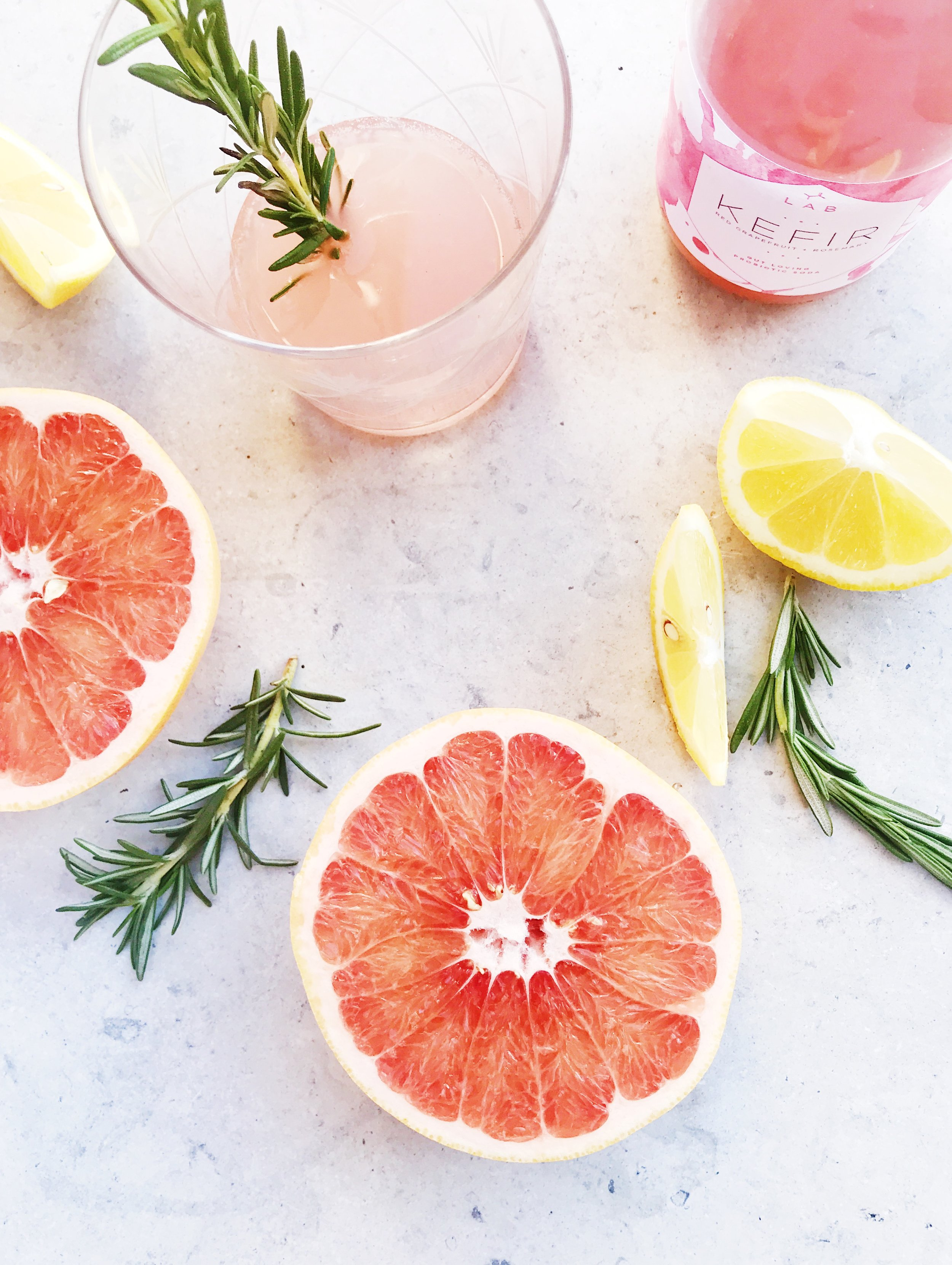 Red Grapefruit + Rosemary Kefir