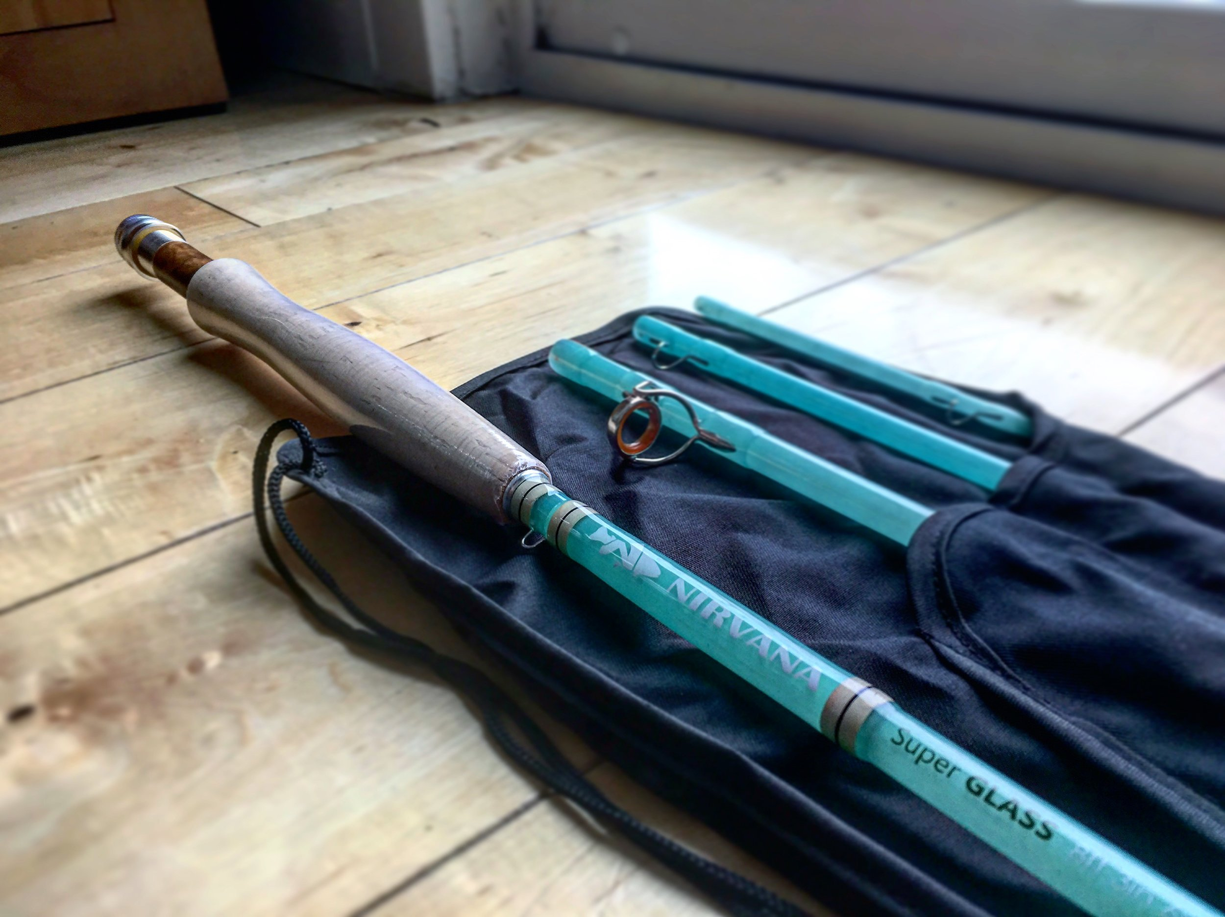 Take out your rod and cast around the house. Here is a great Super GLASS fly rod by Nirvana that is excellent for fishing small creeks. It is one of my favorites to take out and practice with.