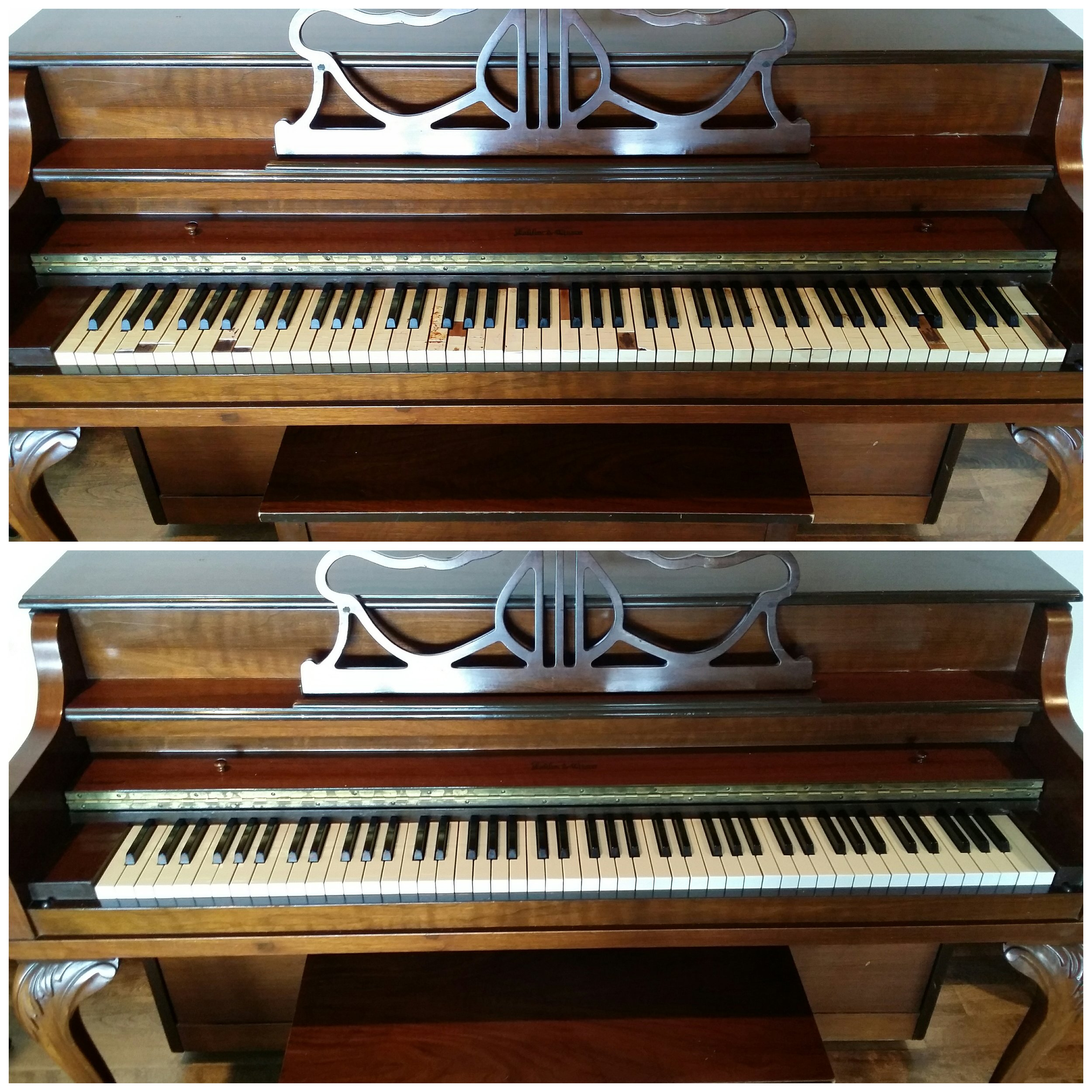 Piano Keytops Before and After