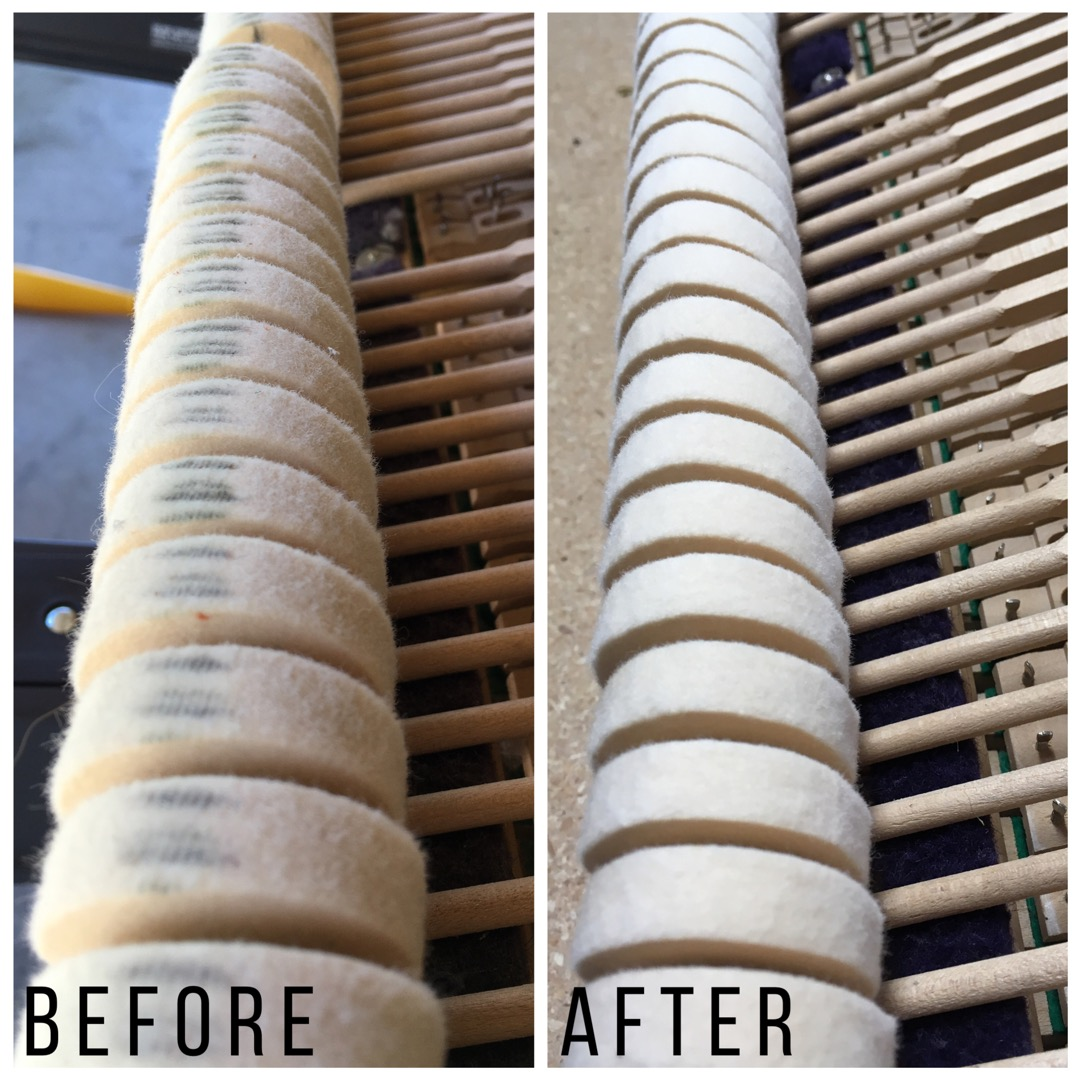 Piano hammers before and after filing.