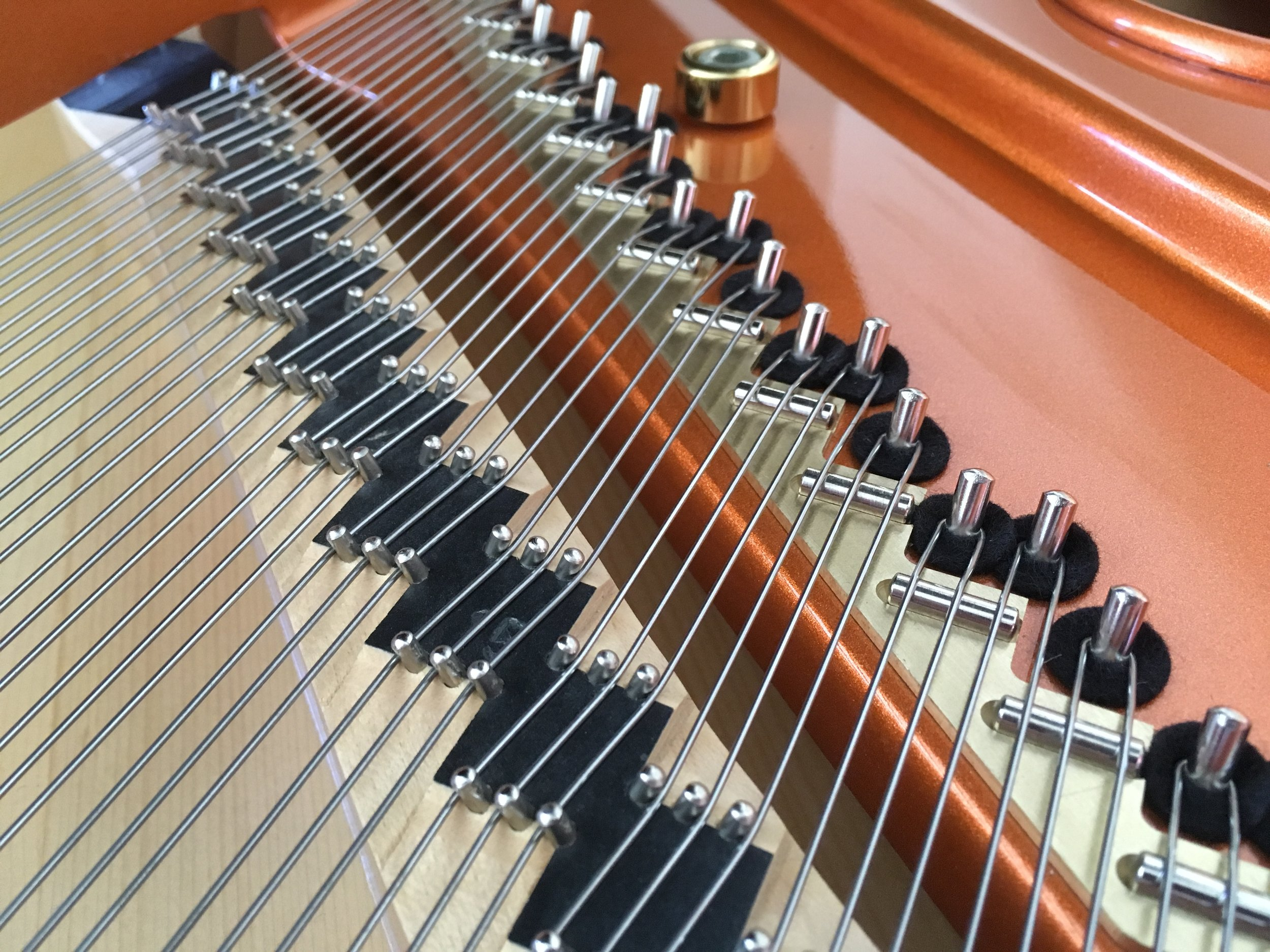 Metal and wood in a piano are sensitive to temperature and humidity changes. Schimmel grand pictured.