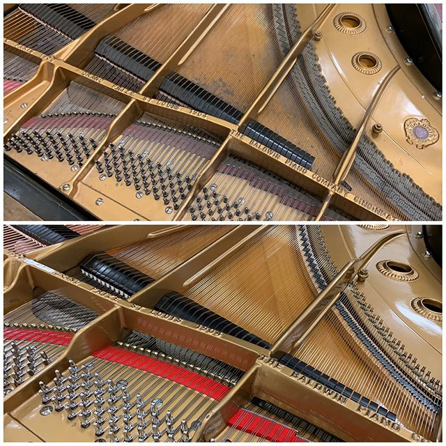 I recently completed an action rebuild and restringing on this 1954 Baldwin SD6 concert grand for a school. A lot of elbow grease went into cleaning it up. #piano #Boise #classicalmusic #pianotechnician #pianotuner #beforeandafter #music