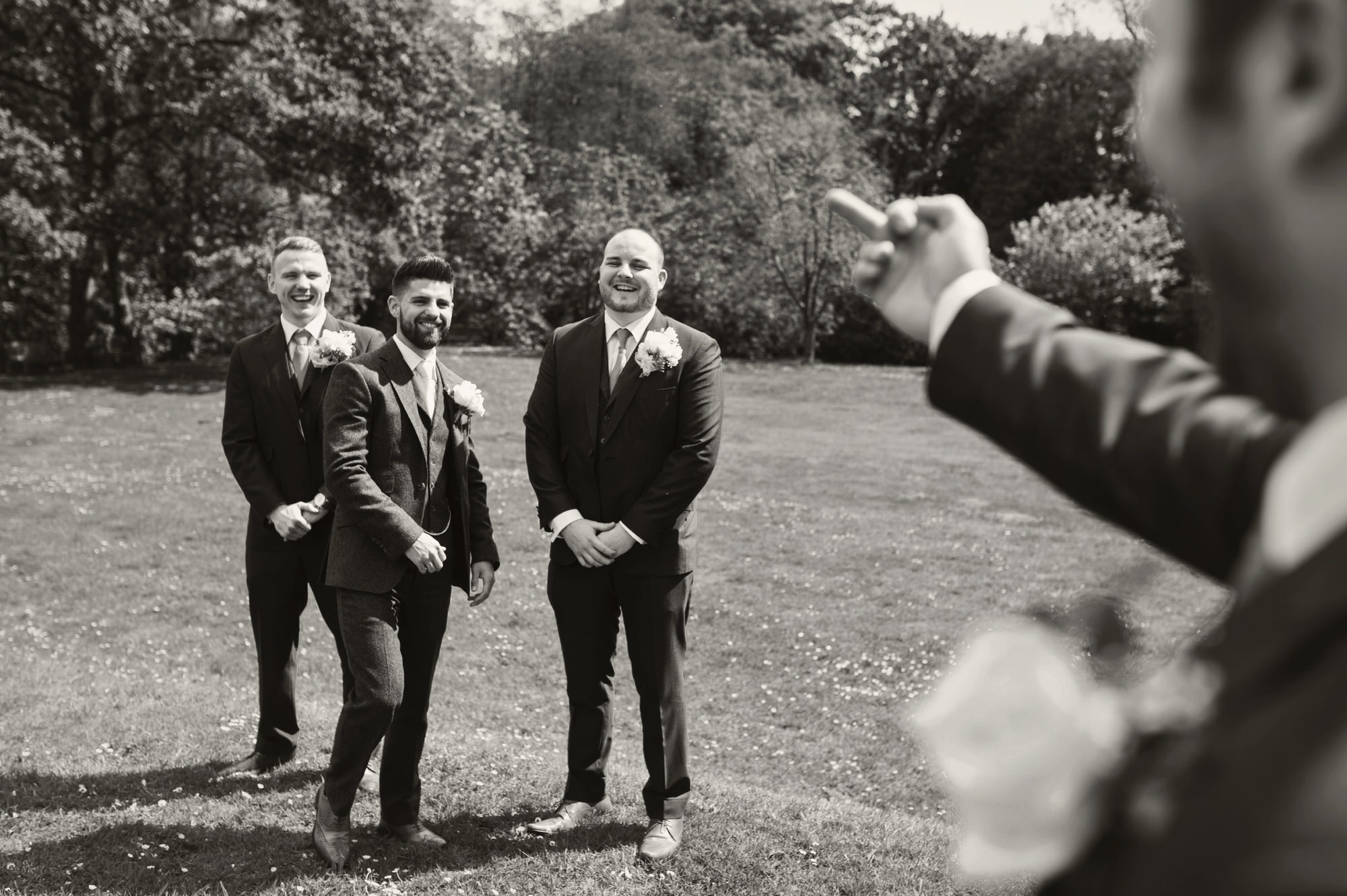 Bryngarw House  in Bridgend - Just a groomsmen casually flicking the bird at the groom Nick!
