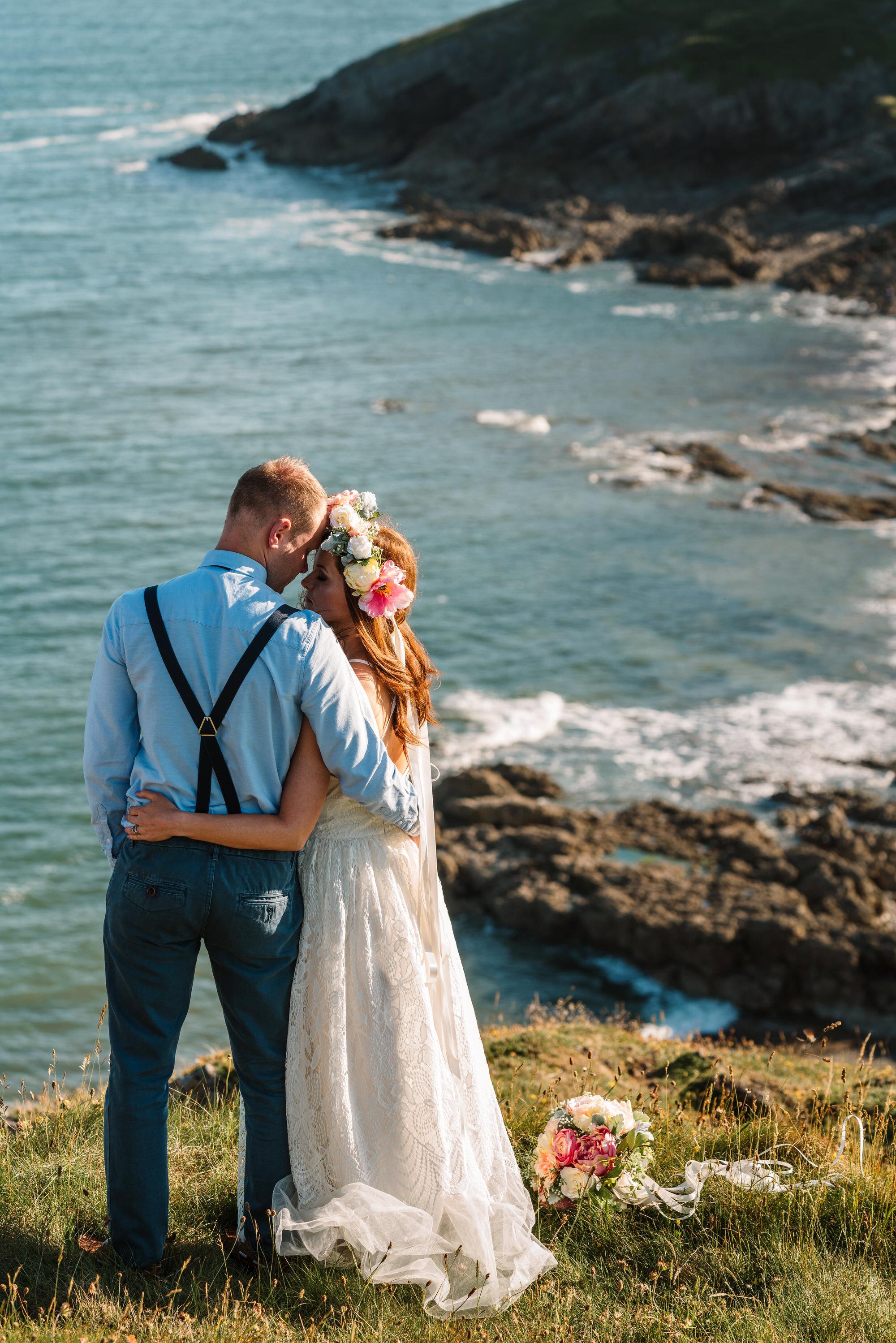 clifftop aventure wedding photo swansea