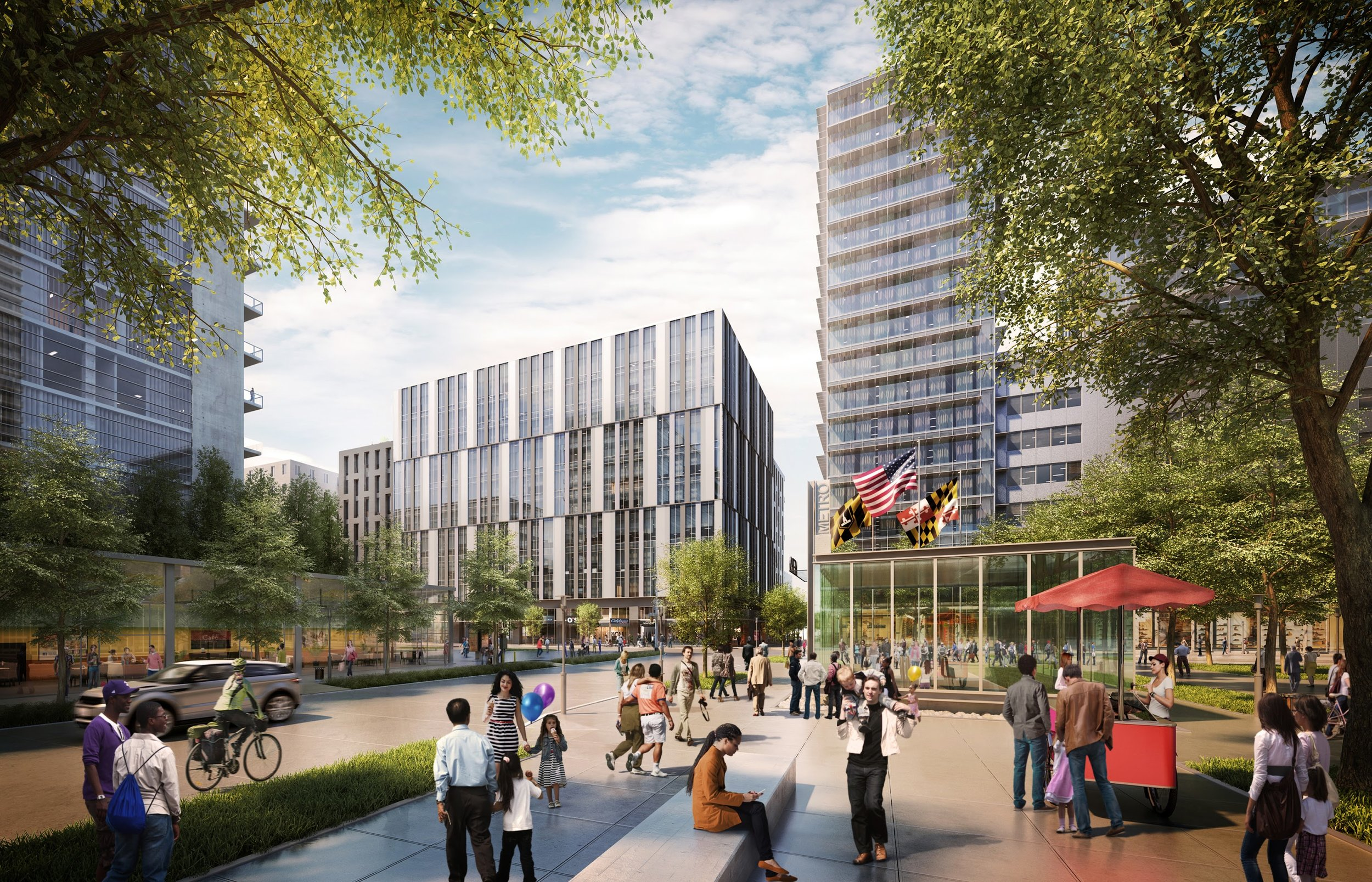 The State Center redevelopment plan would turn a concrete wasteland with the largest concentration of State agencies in Maryland into a thriving, vibrant, 24/7 neighborhood that features efficient state and private offices, residential condominiums and apartments, a grocery store, a school, parking and retail.