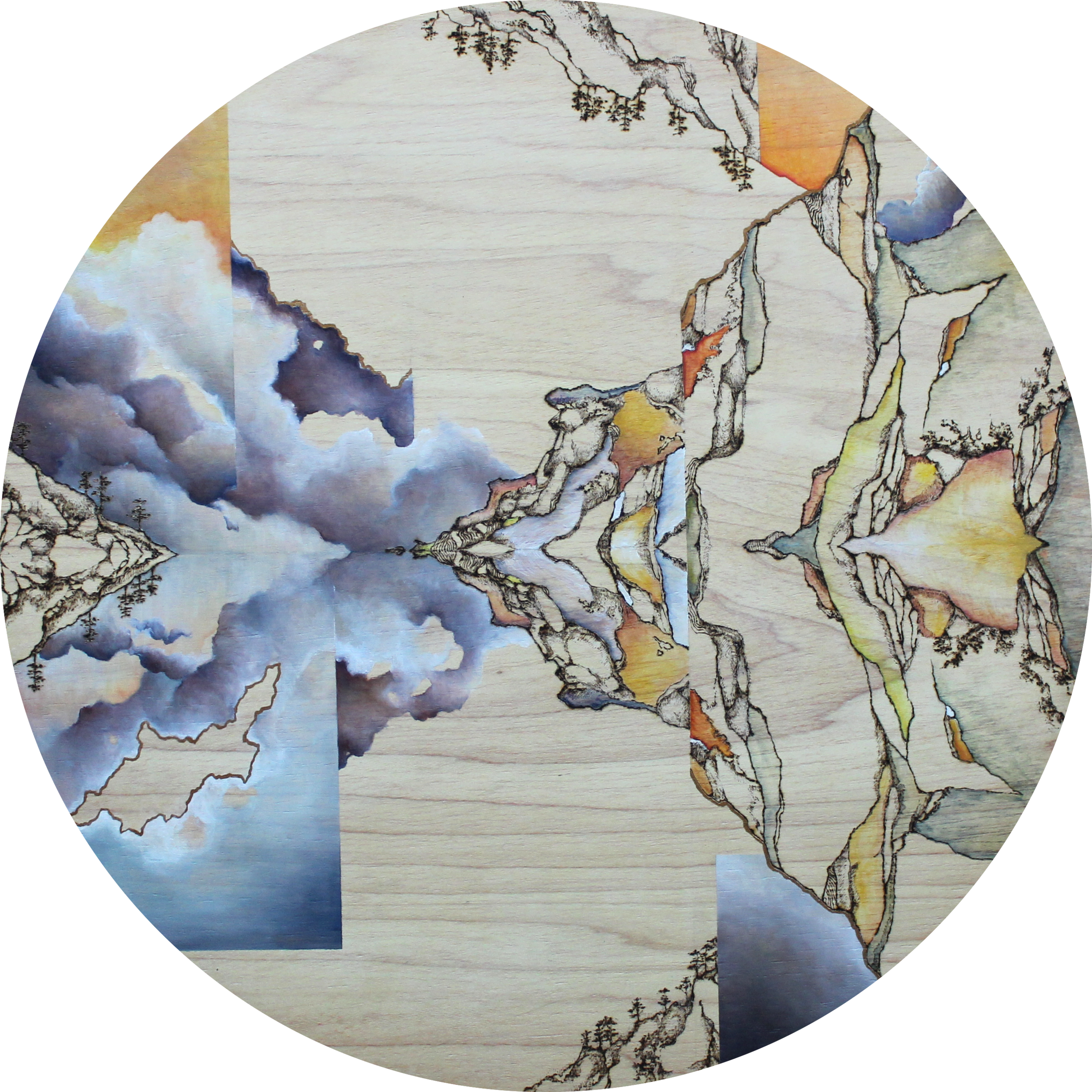 2. Island_Oil and pyrography on wood_51cm diameter_2016.png