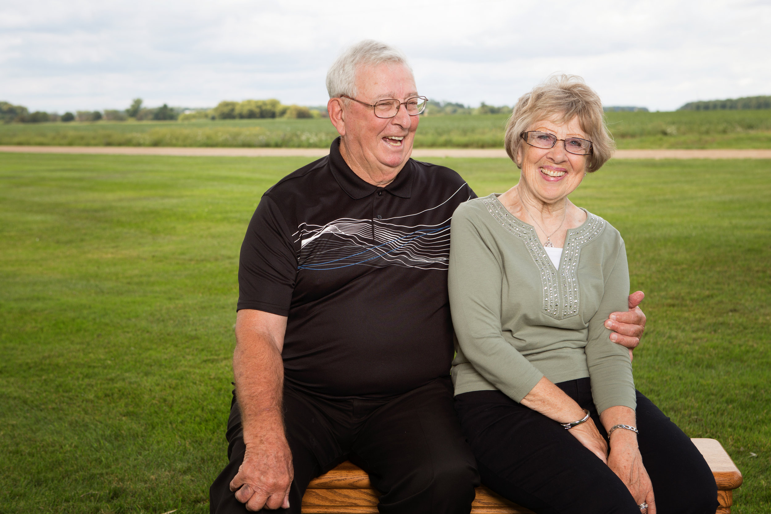 Older couple laughing photo