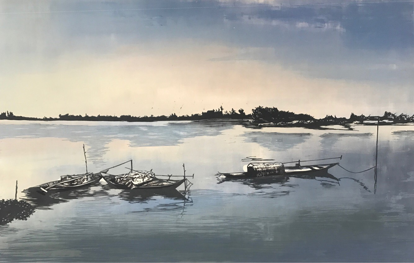 Hoi An, Vietnam   Woodcut and Monotype, Fabriano Paper 220gms   Image Size: 70cmx100cm (27.55''x39.3'')   2017