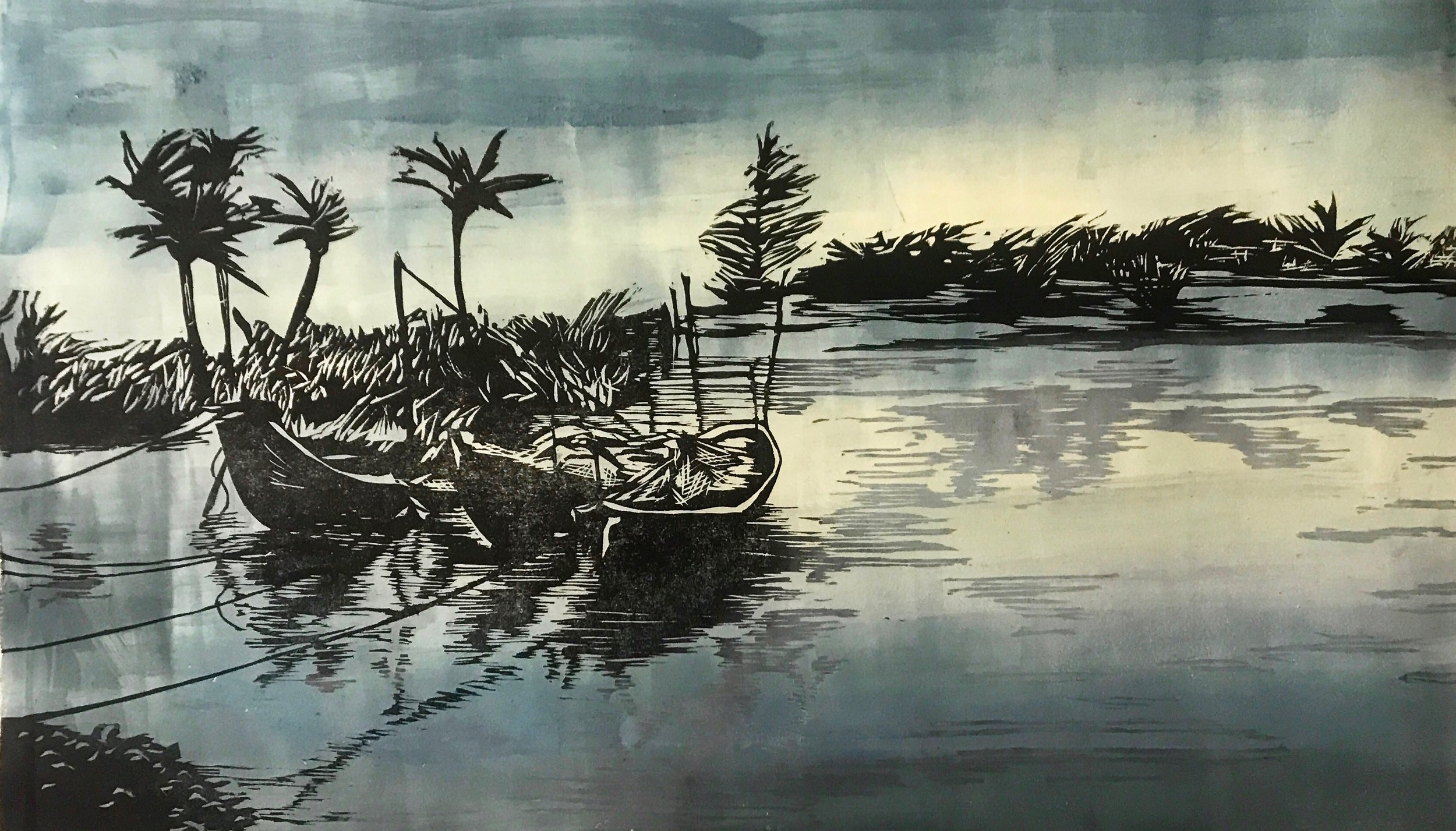 Hoi An, Vietnam II   Woodcut and Monotype, Fabriano Paper 220 gms   Image Size: 50cm x 70cm (19.68''x 27.55'')   2017
