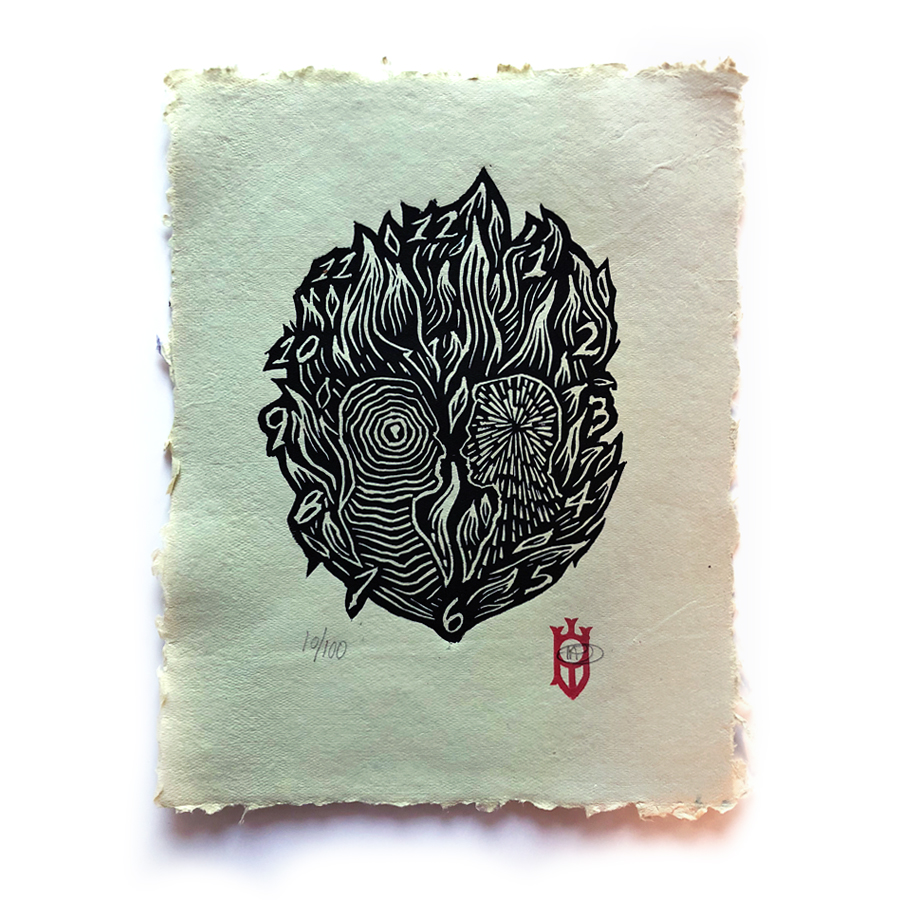 """""""The Memory Of Old Jack"""" relief print on colored-handmade paper, 8.5x11"""" edition of 100"""
