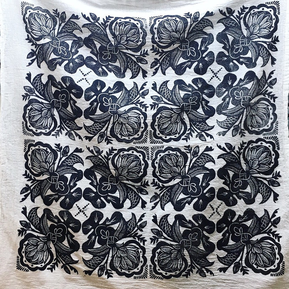 "Norwegian Rosemaling inspired repeat pattern on cotton - 6"" tile Speedball Art block print ink for fabric"