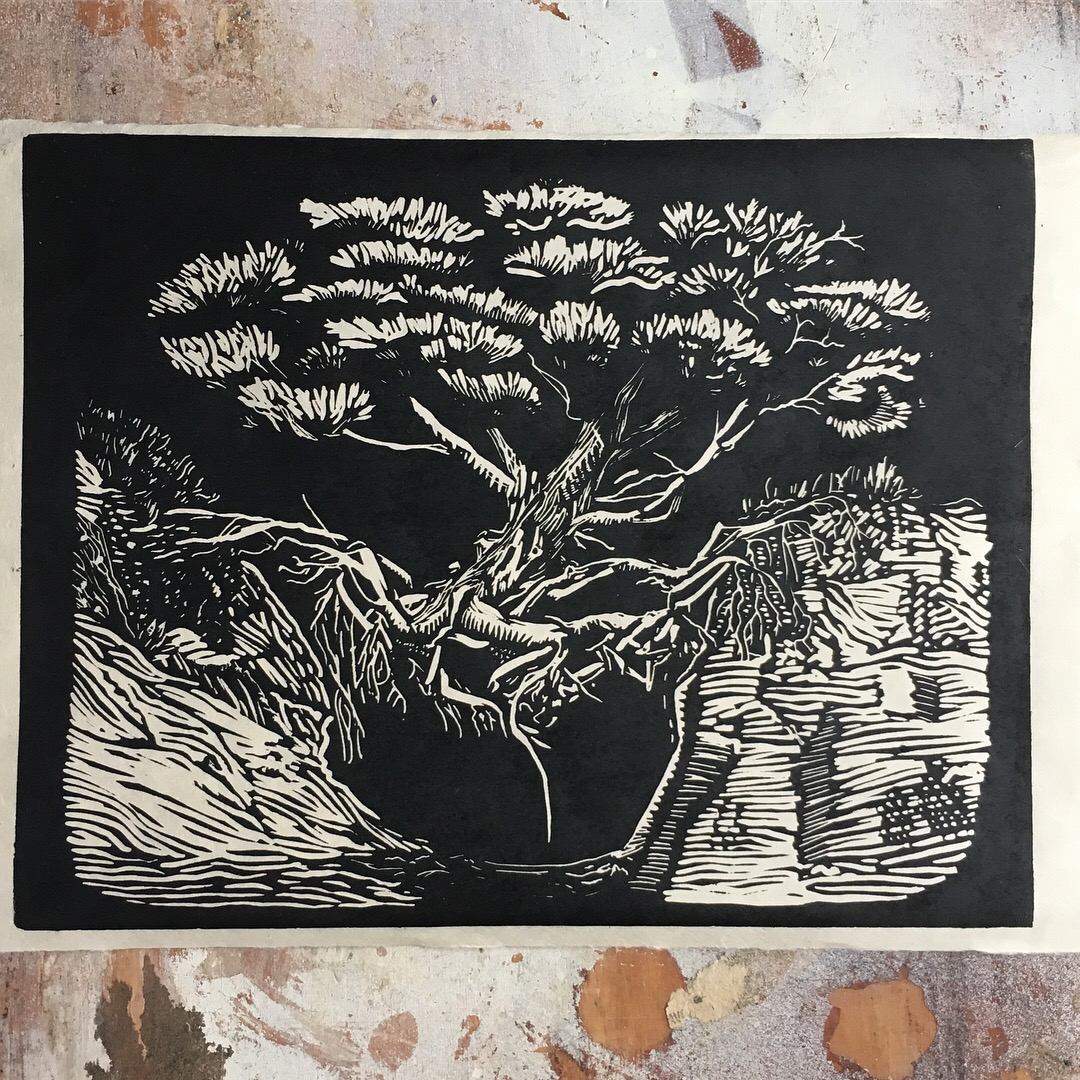 Will to Thrive - A4 Speedball Pro Relief Supergraphic Black on Natural Kitakata Japanese paper