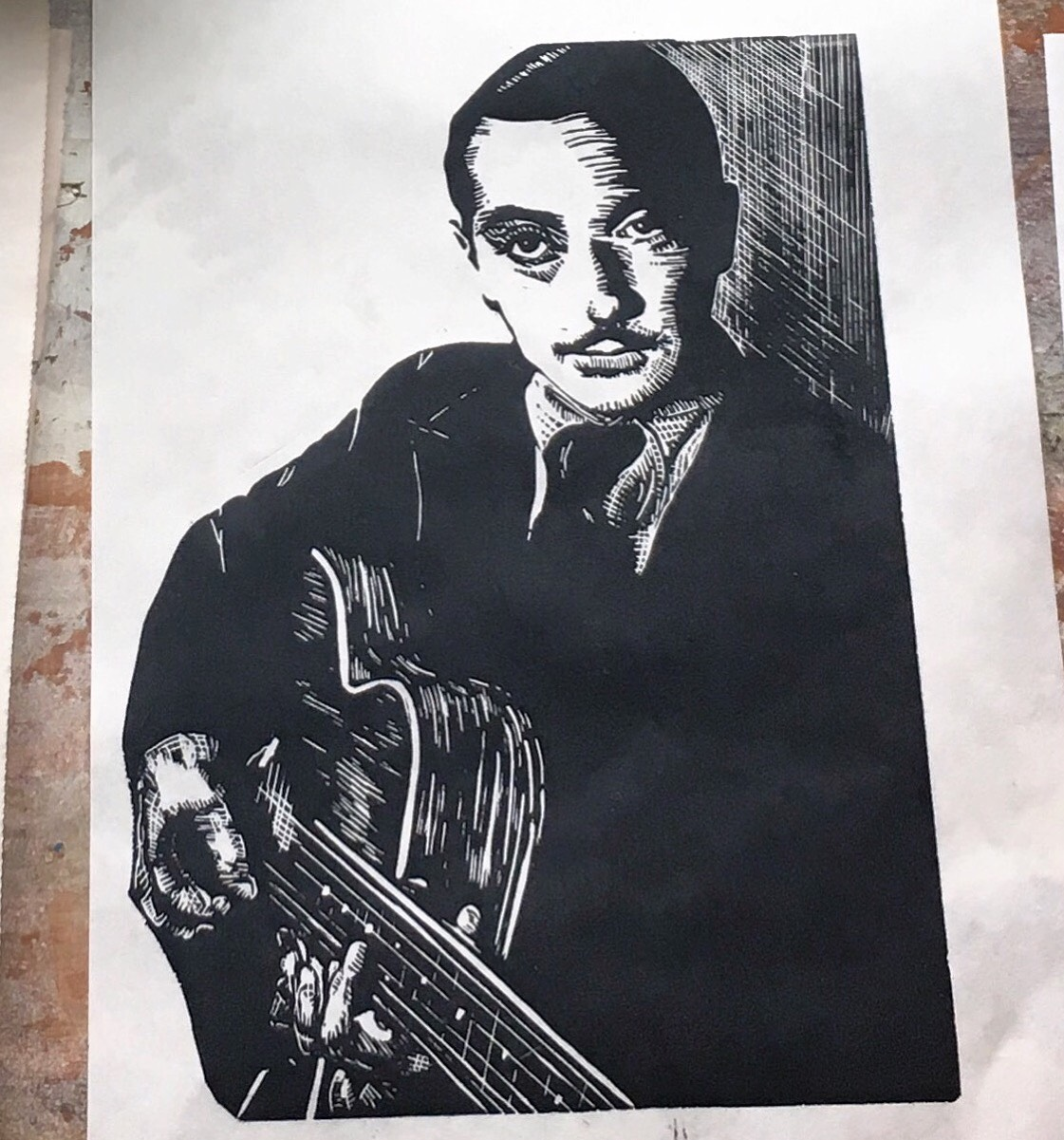 """There's this Gypsy in France - 8x10"""" Speedball Pro Relief Supergraphic Black on Unbleached mulberry  (Django Reinhardt)"""