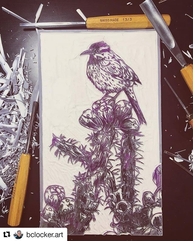 #Repost @bclocker.art Beautifully carved! Check out this Artist when you get a chance! #justprintmaking #art #artist #artistsofinstagram #carving #featuredartist . . . ・・・ Finished carving my cactus wren today! Really excited to see this printed and give my birdie wings 😄  #print #printmaking #printmakingart #printmaker #printmakersofinstagram #printmakingartist #blockprinting #blockprint #linocut #linocutprint #linoprint #linoleumprint #linocarving #birdprint #cactuswren #southwest #cactus #emergingartist #landscapeprint #lanscapeartist
